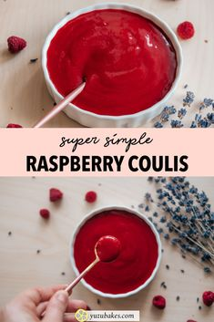 Quick and Easy Raspberry Coulis - How to make refreshing raspberry coulis which can be used as a side sauce or as a topping for your indulgent cakes Delicious Vegan Recipes, Gourmet Recipes, Tasty, Desserts Menu, Vegan Desserts, Other Recipes, Whole Food Recipes, Coulis Recipe, Vegan Finger Foods