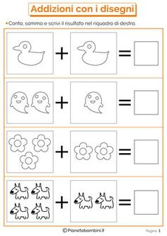 Mathematical Games on Additions for Children to Print – Prescholl Ideas Color Worksheets For Preschool, Numbers Preschool, School Worksheets, Preschool Games, Activities For Kids, Kindergarten Math, Teaching Math, Maths, Community Helpers Worksheets