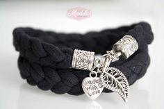 Black bracelet crocheted with tshirt yarn and beads #handmade #crochet #trapillo Recycled Fabric https://www.etsy.com/uk/listing/199534563/various-colours-nina-bracelet-with-beads?ref=shop_home_active_7