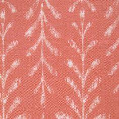Kaftor Leaf Coral. Available printed on linen, cotton, cotton linen blends. © Ellen Eden