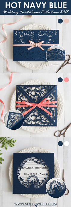Hot navy blue wedding invitations Collection for 2017 Trend.