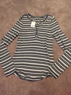 NWT Womens Lucky Brand Black White Striped Knit Henley Button Shirt Size Large   Clothing, Shoes & Accessories, Women's Clothing, Tops & Blouses   eBay!