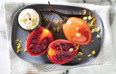 Honey vanilla tamarillos with ginger cream - Healthy Food Guide Summer Salad Recipes, Summer Salads, Just Cooking, Low Fodmap, Serving Plates, How To Cook Chicken, Healthy Lifestyle, Vanilla