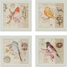 Bird Sketch Wall Art - Set of 4 - Framed Art - Wall Decor - Home Decor | HomeDecorators.com