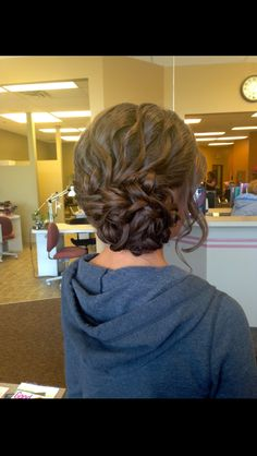 I like this lots for the interview section - Do the wavy curls like you usually do, then just do a super loose braid on the ends, wrap it around in a pinwheel and pin loose