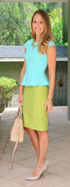 Mint peplum top with citrine pencil skirt