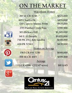 Fabulous listings from your #Century21ButlerRealEstate team! Call today and let's go find your next home!