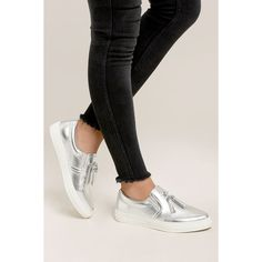 Abby Silver Slip-On Sneakers ($32) ❤ liked on Polyvore featuring shoes, sneakers, silver, slip on trainers, silver slip on sneakers, tassel shoes, white trainers and metallic slip-on sneakers