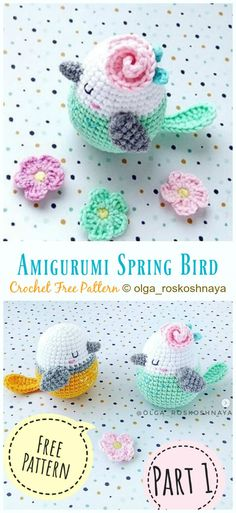 Amigurumi Spring Bird Crochet Free Pattern - Crochet #Bird; #Amigurumi; Free Patterns