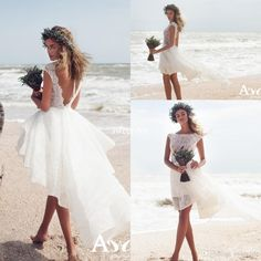 Sexy Hi-Lo Summer Beach Lace Short Wedding Dresses Backless Sheer Bateau Neck Sleeveless Ruffles Chiffon 2017 Bohemia Bridal Gowns for Party Wedding Dresses High Low Vestidos De Novia Online with $138.0/Piece on Sweet-life's Store | DHgate.com