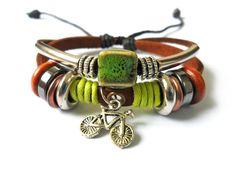 Jewelry bangle leather bracelet men bracelet women bracelet boys bracelet made of leather Ropes and Color Wooden Beads cuff bracelet. $8.00, via Etsy.