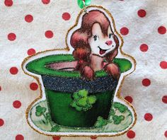 Glittered Wooden St.Patrick's Day Ornament~ Dog in Green Hat~ Vintage Card Image