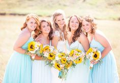 Today we have a beautiful sunny southern Alberta wedding. This wedding is so bright and cheerful, you can really tell how much this couple loves one another. The details of this wedding are what really make it so amazing, from the bridal party arriving by wagon, stunning sunflowers and the grooms attire. A big Thank you to Kaycee Ann Photography for the stunning images! Bridesmaids, Bridesmaid Dresses, Wedding Dresses, Country Style Wedding, Love One Another, Groom Attire, Inspirational Gifts, Grooms, Sunflowers