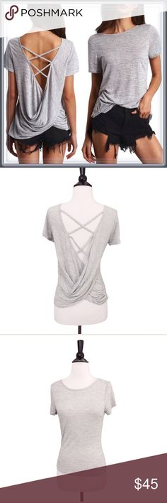 NWT Gray Open Twist wrap back Top ➖NWT ➖SIZE: Small, Medium, Large ➖STYLE: A grey top with an open vneck draped twist back.  ❌NO TRADE 273908 Tops Tees - Short Sleeve