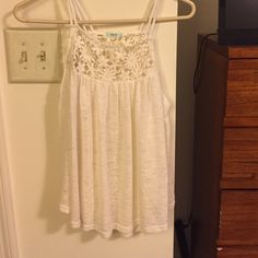 White tank top Thin tank top with lace top half. Worn once. Urban outfitters Kimchi Blue Urban Outfitters Tops Tank Tops