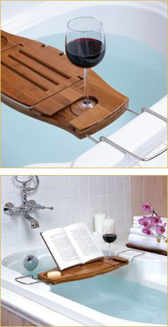 """Aquala"" Bathtub Caddy. My mom needs this so she will stop dropping her eletronics in her tub!!!"