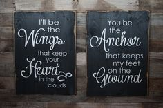Large Wood Sign - I'll Be The Wings You Be The Anchor- Subway Sign
