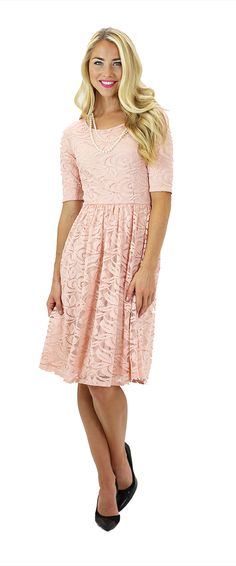 The Samantha dress is a stunning Blush Pink Lace Dress!!! Available in 5 beautiful colors. Mint, Cream, Burgundy, Blush Pink & Navy! This lovely exquisite lace floral dress is a perfect option for bridesmaids, a hot date, or for a stylish church dress. Modest Dresses/ Modest Bridesmaid Dresses/ Modest Fashion/ Modest Clothing/ Lace Dress #sierrabrookeclothing