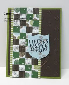 "Created with Stampin' Up! supplies: ""Coffee Cafe"" stamp set (143677) Coffee Break DSP (144155) Oh My Stars embossing folder (143710 Best Badge punch (140633) Copper Metallic Thread (141696"