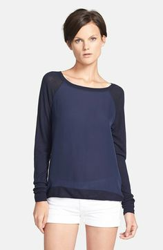 Vince Raglan Mixed Media Sweater available at #Nordstrom