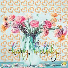 Happy Birthday Animated Images Gif - giortazo Unique Birthday Wishes, Happy Birthday Greetings Friends, Happy Birthday Flower, Happy Birthday Wishes Cards, Birthday Cards, Floral Bouquets, Birthdays, Gold Earrings, Bible Verses