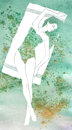 a girl sunbathing at the beach, fashion illustration with inks, watercolor and real sand