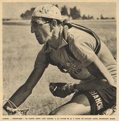 Tour de France 1952. 10^Tappa, 4 luglio.  Losanna > L'Alpe d'Huez. Giorno di gloria per Andrea Carrea (1924-2013), gregario di Coppi, in maglia sull'Alpe [Le Miroir des Sports. L'Histoire du Tour '52]