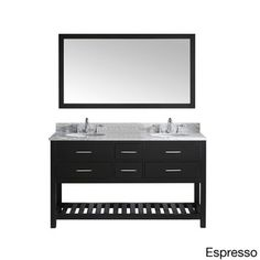 @Overstock - Virtu USA Caroline Estate Carrera Marble Double Sink Bathroom Vanity and Mirror - The Carolina Estate offers an elegant transitional design with four soft closing drawers, a revealing bottom towel rack, a round double sink. Italian Carrera marble stone countertop and a 59-inch wide framed mirror complete the look.  http://www.overstock.com/Home-Garden/Virtu-USA-Caroline-Estate-Carrera-Marble-Double-Sink-Bathroom-Vanity-and-Mirror/8604752/product.html?CID=214117 $1,549.00