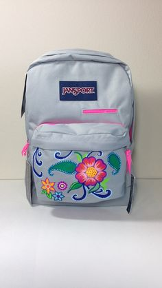 Gray JanSport Laptop Backpack  Hand Painted by GulfLifebyNichole