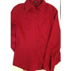 Red fitted button up shirt Worn several times. Fitted and stretch style. Has one stain on the back towards the middle of the backside. Great color, not faded. Express Tops Button Down Shirts