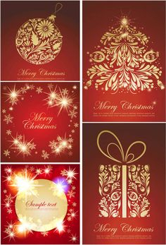 Set of vector decorative ornate Christmas postcards templates with ornaments and gilded frames on red backgrounds for your Merry Christmas cards and other Christmas Postcards, Merry Christmas Card, Free Vector Graphics, Vector Art, Postcard Template, Red Background, Vectors, Journaling, Graphic Design
