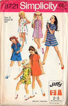 Vintage 1970s Simplicity Pattern 8721 Girls Pant Dress Bust 30 Hip 32 Size 12