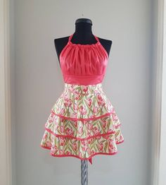 Floral retro apron for women , Cute flowered kitchen apron , Womens tulip apron with three layer skirts , Full cooking apron with flowery Tudor Dress, Black And White Tuxedo, Knot Dress, Wrap Dress, Cute Aprons, Retro Apron, Dress Patterns, Apron Patterns, Sewing Patterns
