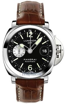 Panerai Luminor GMT 44mm pam00088 Luminor Watches, Panerai Luminor, Breitling, Panerai Automatic, Automatic Watch, Cool Watches, Watches For Men, Men's Watches, Maurice Lacroix