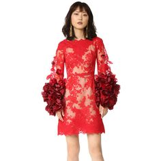 Marchesa Cocktail Dress with Organza Flowers ($3,995) ❤ liked on Polyvore featuring dresses, flower dress, red bell sleeve dress, flared sleeve dress, bell sleeve dress and organza dress