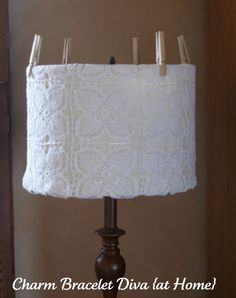 DIY. Lace lampshade cover  Charm Bracelet Diva {at Home}: Copy That: Pier 1 Imports Lace Lampshade Knock-Off
