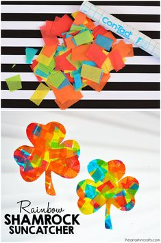 Easy rainbow crafts for kids: Shamrock sun catchers at I Heart Arts n Crafts St Patricks Day Crafts For Kids, St Patrick's Day Crafts, Arts And Crafts, Holiday Crafts, Christmas Gifts, Cute Kids Crafts, Crafts For Kids To Make, Rainbow Crafts, Rainbow Activities