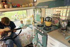 Interior of Miss Cutie Pie - a vintage  trailer