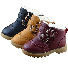 7b77d5eeeb76a Toddler Baby Boys Girls Boots Faux Fur Winter Warm Shoes…