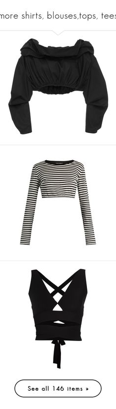 """""""more shirts, blouses,tops, tees"""" by gigiglow ❤ liked on Polyvore featuring tops, crop top, shirts, black, off the shoulder tops, shirt crop top, off shoulder tops, off the shoulder crop top, long sleeves and black stripe"""