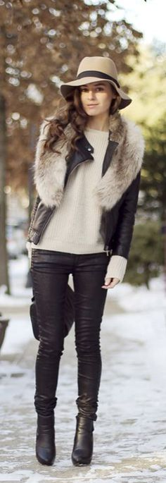 A great way to spruce up winter neutrals is with a quilted leather jacket! Be a fall and winter style maven by adding just one simple item! What are your favorite things to wear in the winter or fall? Would you sport this style?