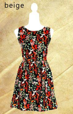 Pretty A-line autumn colour dress, elegant, modern style.
