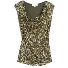 MICHAEL Michael Kors Cap Sleeve Abstract Sequin Top ($52) ❤ liked on Polyvore featuring tops, shirts, blusas, sequins, tank tops, cap sleeve shirt, michael michael kors, brown shirts, shiny shirt and sequin jersey
