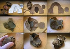 Shoes for dolls Moccasins - step by step