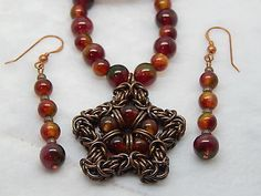 Hand-made Red Agate & Antique Copper Chain Maille Pnedant - 3 piece set