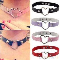 Women Men Cool Punk Goth Rivet Heart-Shape Ring Leather Collar Choker Necklace #seattle2003us #Collar