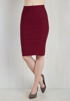I'll Have the Usual Skirt in Cranberry - Red, Solid, Work, 50s, Pencil, Fall, Woven, High Rise, Variation, Vintage Inspired, Mid-length, Valentine's, Exclusives