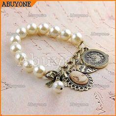 Hot Vintage White Pearl Beads Bracelet Peach Heart Clock Bow Girl' Head Bangle
