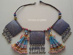 Rare Multan/Sindh Silver large Tri Pendant Enamel necklace on original stringing. With Old speciall Afghan Tassels.