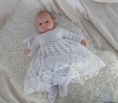 Biele háčkované šaty pre babätko na krst, na svadbu, handmade, crochet, white cotton, tulle, dress, wedding, baby, lace